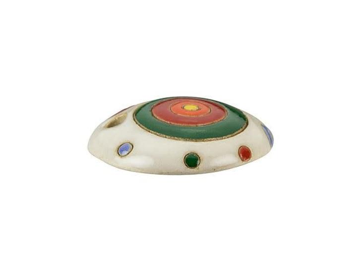 Golem Design Studio Stoneware Pendant - Red and Green on White Circles Design
