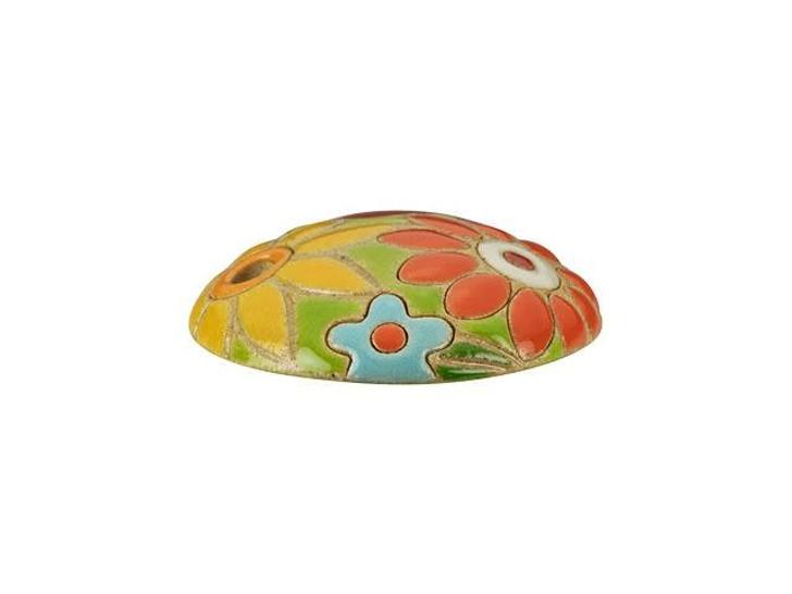 Golem Design Studio Stoneware Pendant - Red and Yellow Flowers Design