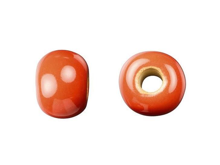 Golem Design Studio Stoneware Plain Large Hole Bead - Coral