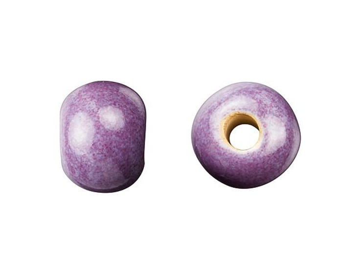 Golem Design Studio Stoneware Plain Large Hole Bead - Purple