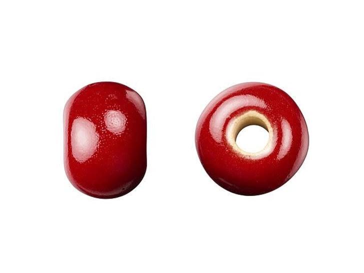 Golem Design Studio Stoneware Plain Large Hole Bead - Red Tamale