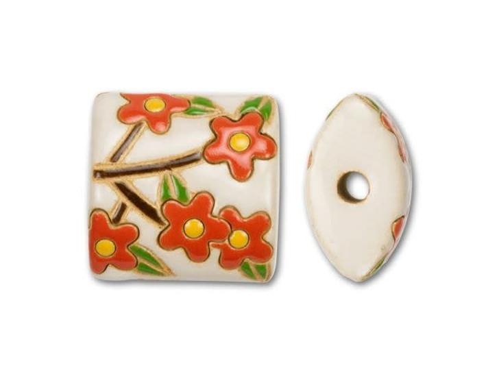 Golem Design Studio Stoneware Puffy Square Bead - Cream with Orange Flowers