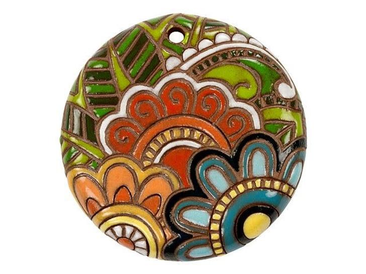 Golem Design Studio Stoneware Round Pendant - Complex Paisley Design
