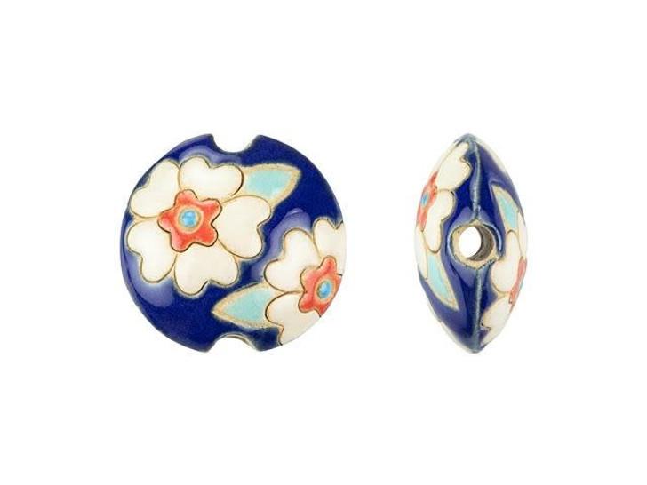 Golem Design Studio Stoneware Small Lentil Bead - Heart Flowers, White on Dark Blue Design