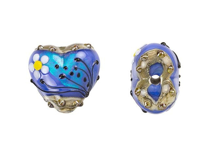 Grace Lampwork Arctic Blue Florals Heart Focal Bead