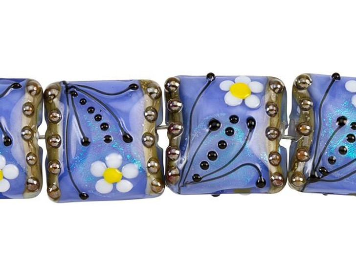 Grace Lampwork Arctic Blue Florals Pillow Bead Strand (4 pcs)