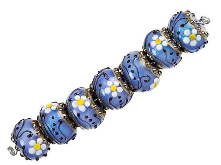 Grace Lampwork Arctic Blue Florals Roundel Bead Strand (7 pcs)