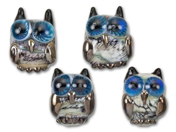 Grace Lampwork Black and Ivory Free Style Owl Bird Bead