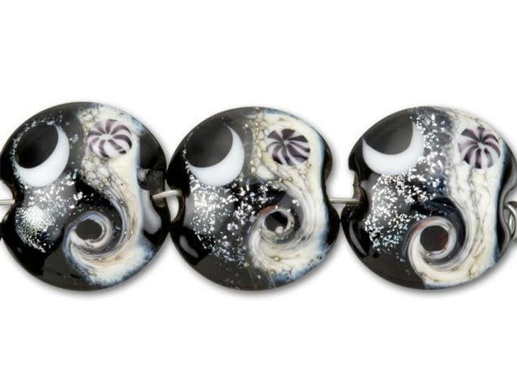 Grace Lampwork Black Dichroic Celestial Lentil Bead (4pcs) Strand