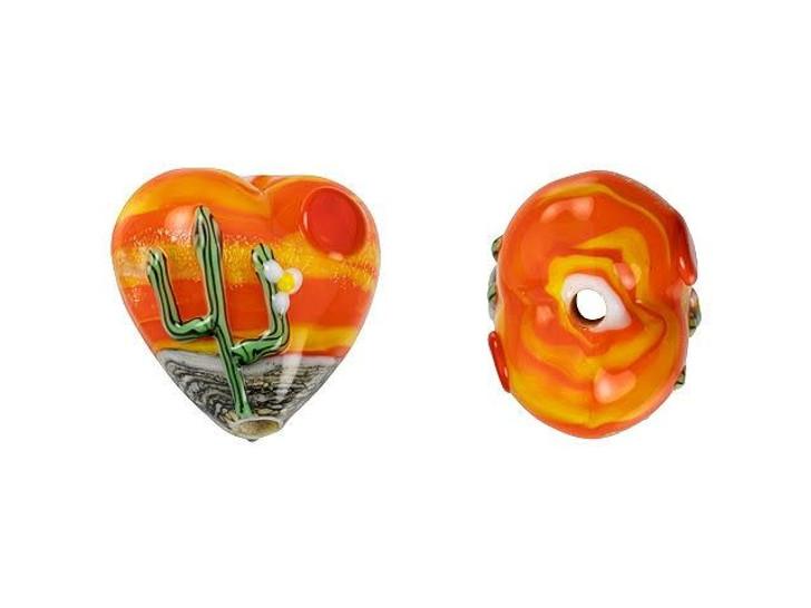 Grace Lampwork Cactus Sunset Heart Focal Bead