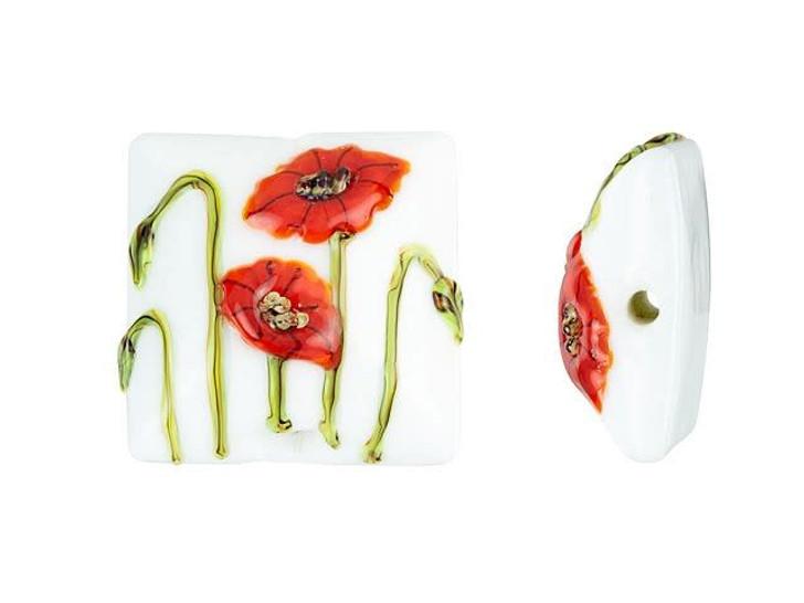 Grace Lampwork California Poppy Flower Pillow Focal Bead