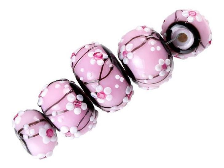 Grace Lampwork Cherry Blossom Graduated Roundel Bead Strand (5 pcs)