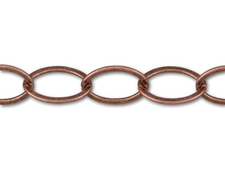 12x9mm Antique Copper-Plated Oval Chain by the Foot