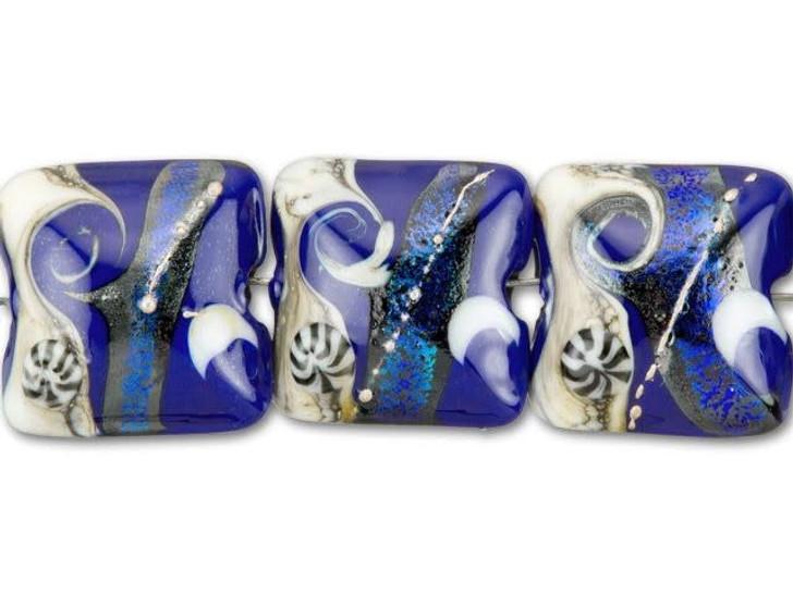 Grace Lampwork Cobalt Dichroic Celestial Pillow Bead (4pcs) Strand