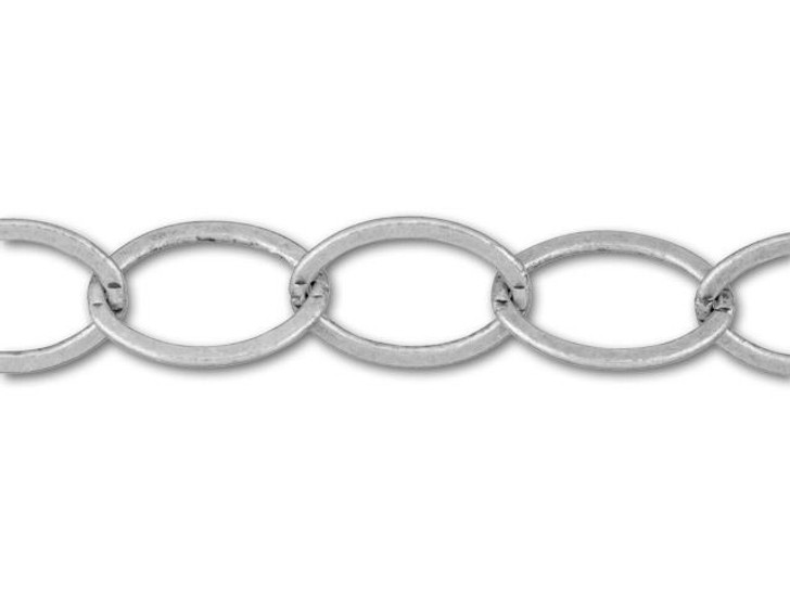 12x9mm Antique Silver-Plated Oval Chain by the Foot