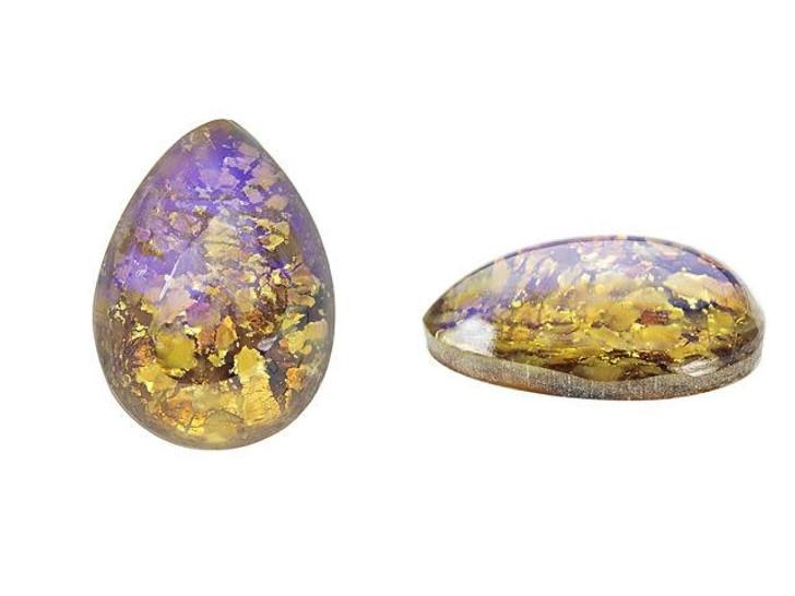 13 x 18mm Pear Glass Cabochon - Topaz Opal