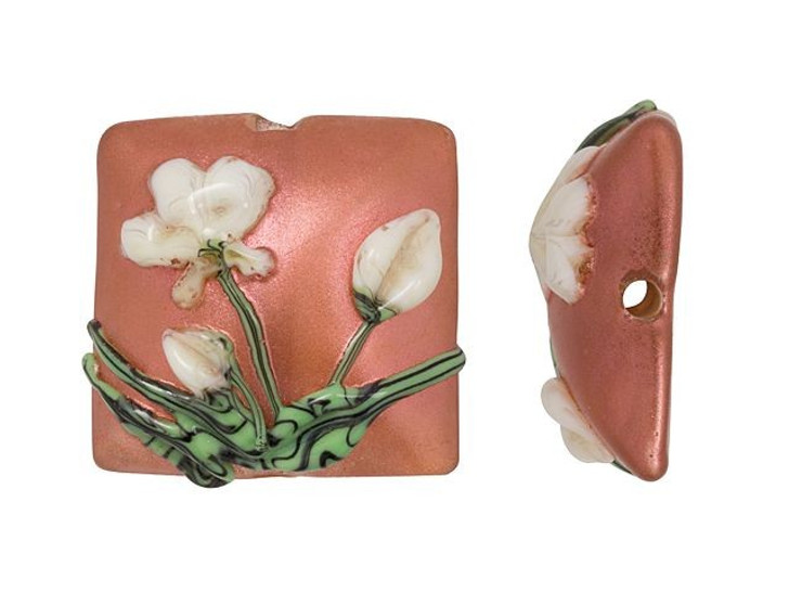 Grace Lampwork Ivory Mist Flower on Coral Pillow Focal Bead