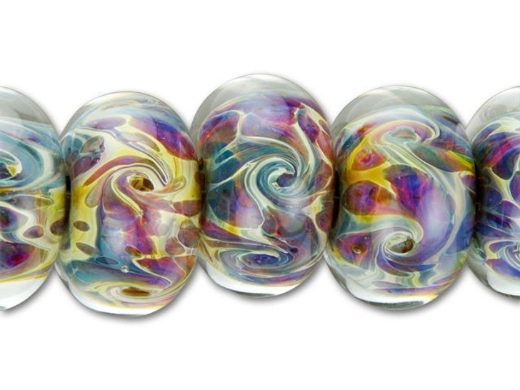 Grace Lampwork Multi-Color Swirled Round Bead (6 pcs) Strand