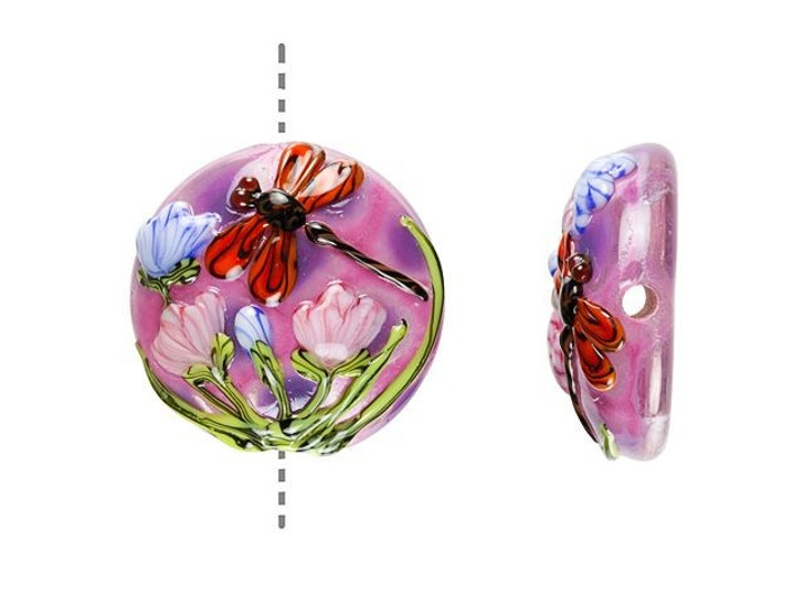 Grace Lampwork Red and Violet Dragonfly Garden Lentil Focal Bead