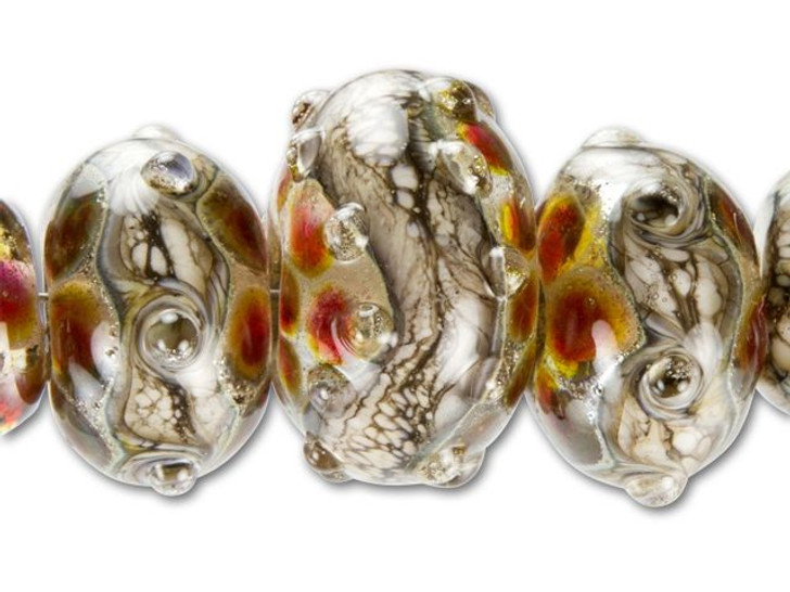 Grace Lampwork Red with Silver Foil Graduated Roundel Bead (5 pcs) Strand