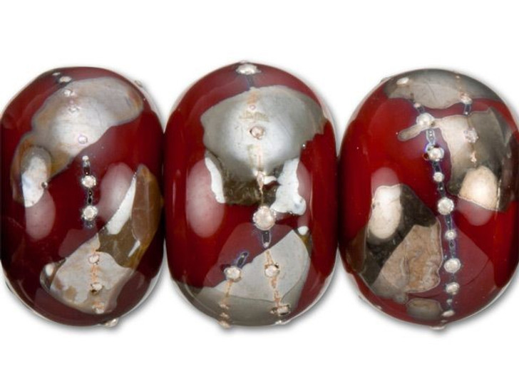 Grace Lampwork Regal Red and Metallic Mix Roundel Bead (7 pcs) Strand