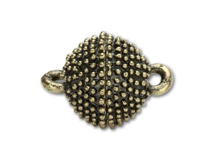 13mm Antique Brass Studded Round Magnetic Clasp
