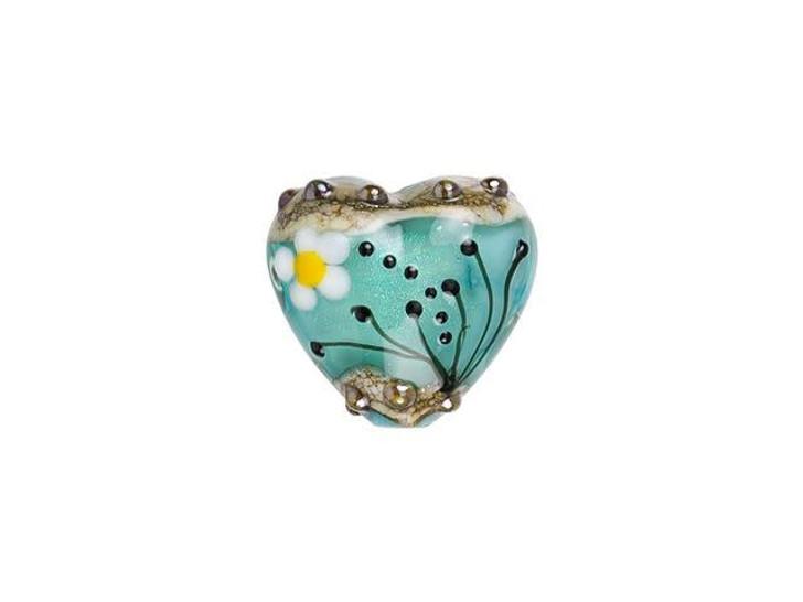 Grace Lampwork Seafoam Florals Heart Focal Bead