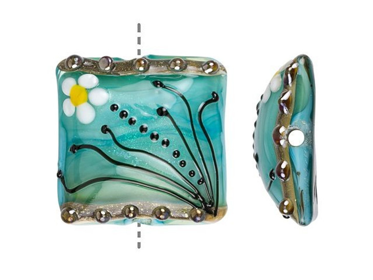 Grace Lampwork Seafoam Florals Pillow Focal Bead