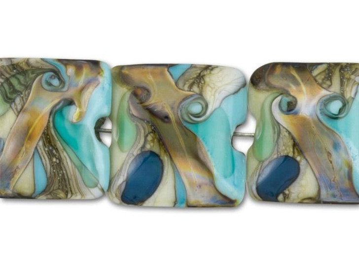 Grace Lampwork Turquoise and Ivory Pillow Bead (4pcs) Strand