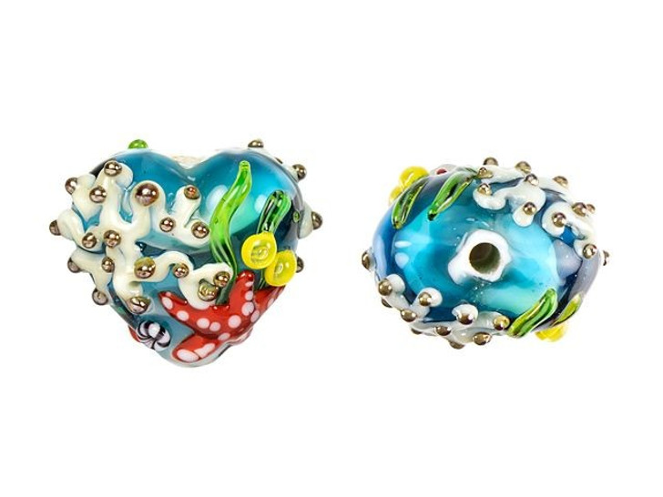 Grace Lampwork Under the Sea, Sea Star and Coral Heart Focal Bead