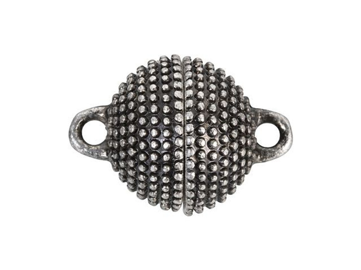 13mm Antique Silver-Plated Brass Studded Round Magnetic Clasp