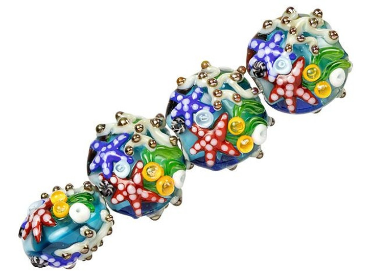 Grace Lampwork Under the Sea, Sea Star and Coral Lentil Bead Strand (4 pcs)