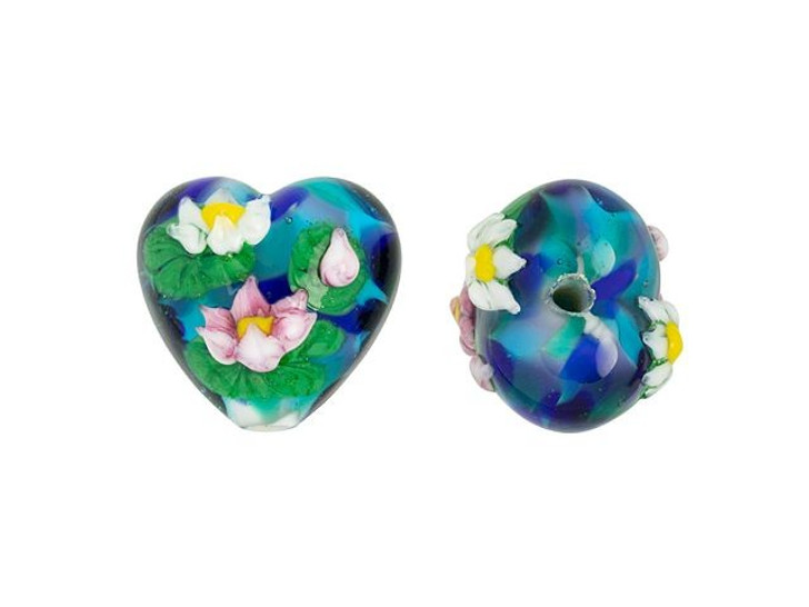 Grace Lampwork Water Lily Garden Heart Focal Bead