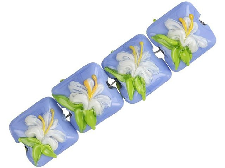 Grace Lampwork White Hibiscus Pillow Bead Strand (4 pcs)
