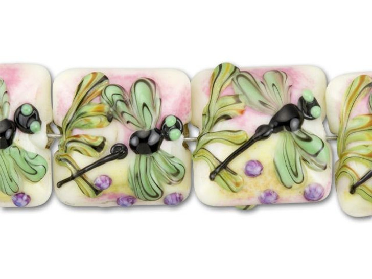 Grace Lampwork White with Dragonfly Pillow Bead (4pcs) Strand