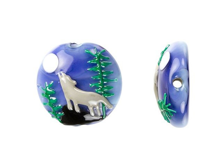 Grace Lampwork Wolf Howling at the Moon Lentil Focal Bead