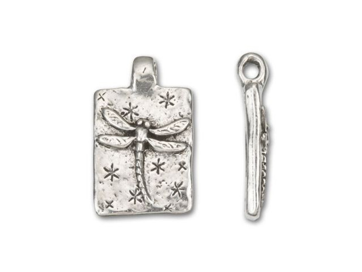 Green Girl Studios Pewter Fly, Dragonfly Rectangle Pendant