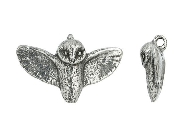 Green Girl Studios Pewter Flying Owl Pendant