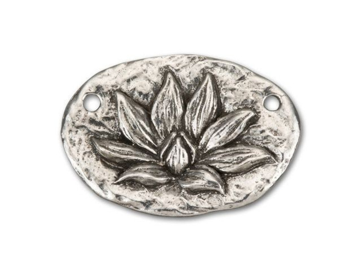 Green Girl Studios Pewter Lotus Blossom Oval Link