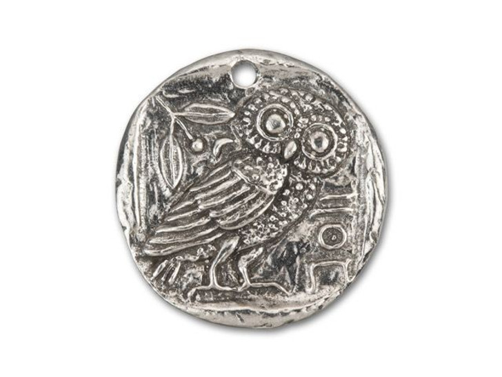 Green Girl Studios Pewter Owl Coin Bird Pendant