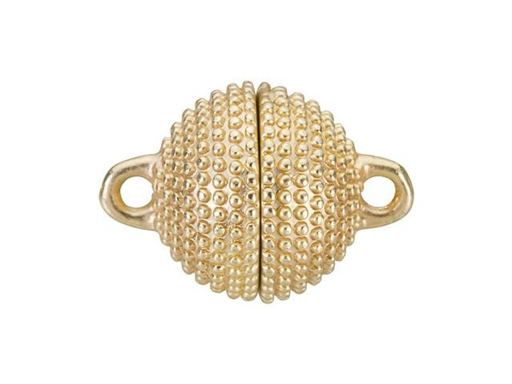 13mm Satin Hamilton Gold-Plated Brass Studded Round Magnetic Clasp