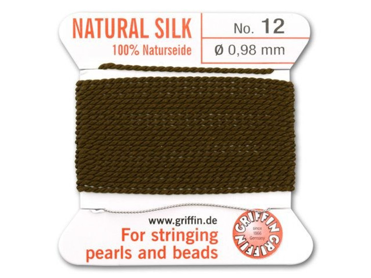 Griffin Bead Cord 100% Silk - No. 12 (0.98mm) Brown