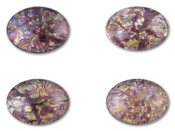 13x18mm Oval Glass Cabochon - Amethyst Opal