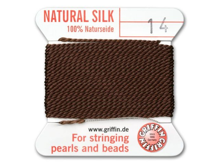 Griffin Bead Cord 100% Silk - No. 14 (1.02mm) Brown