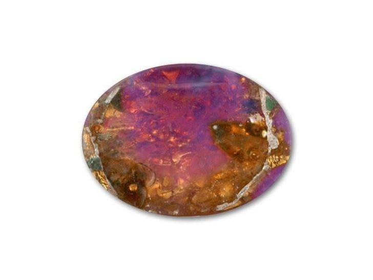 13x18mm Oval Glass Cabochon - Fire Opal