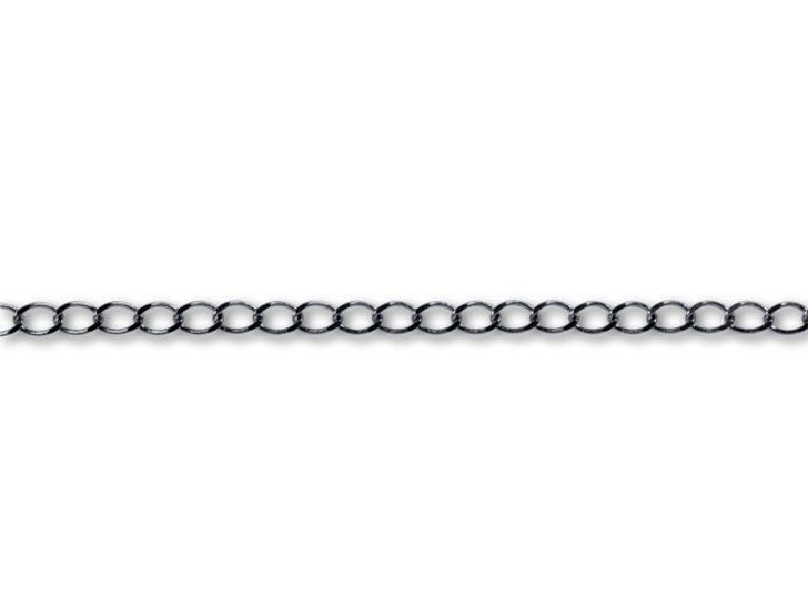 Gunmetal-Plated Curb Chain by the Foot