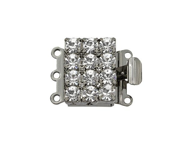Gunmetal-Plated Large Rectangle Crystal Rhinestone Clasp