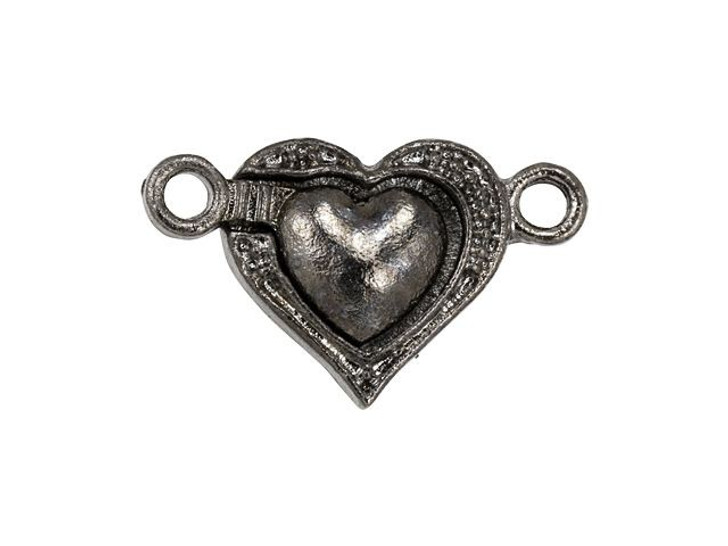 Gunmetal-Plated Magnetic Heart Clasp
