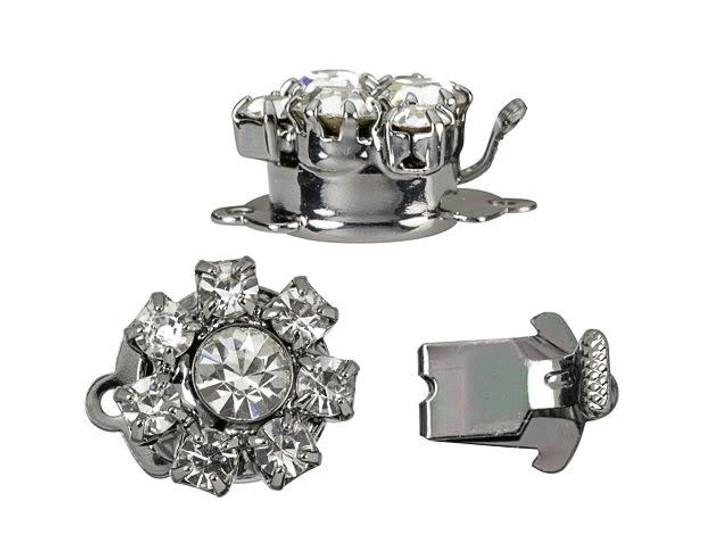 Gunmetal-Plated Round Flower Crystal Rhinestone Clasp