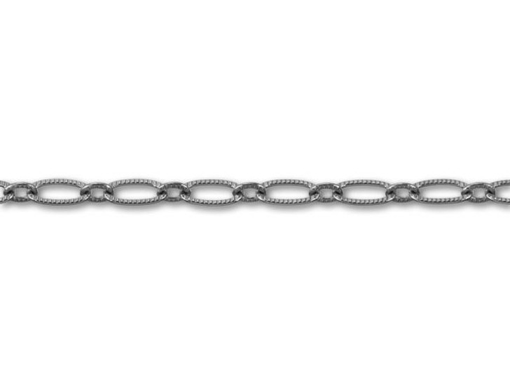 Gunmetal-Plated Textured Oval Cable Chain by the Foot